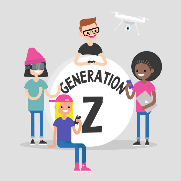"""A group of millennial friends gathering around big """"Generation z"""" sign. Gadgets. Modern lifestyle. Flat editable vector illustration, clip art A group of millennial friends gathering around big """"Generation z"""" sign. Gadgets. Modern lifestyle. Flat editable vector illustration, clip art millennial generation stock illustrations"""