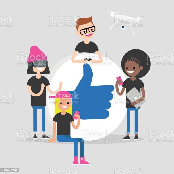 Group of millennial friends gathering around big thumbs up sign vector id884795840?b=1&k=6&m=884795840&s=612x612&h=mhj0qeybkyajm8 dycrb r sbu6prpikyizqabfcnei=