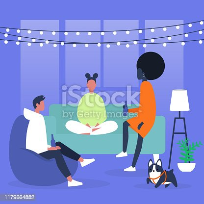 istock A group of millennial friends having a home party with string light decorations 1179664882