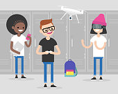 A group of millennial students using gadgets in a school corridor: smartphone, laptop, drone, virtual reality headset. Generation z. Students on a break at a school hallway. Flat editable vector