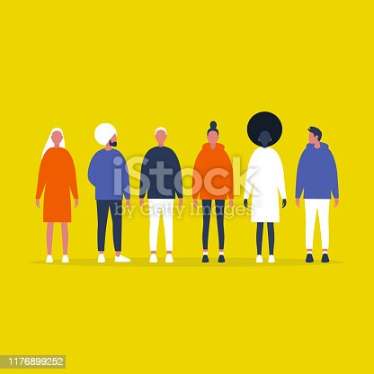 A group of millennials. People standing on line. Full length front view. Community. Friends. Team. Collection. Flat editable vector illustration, clip art