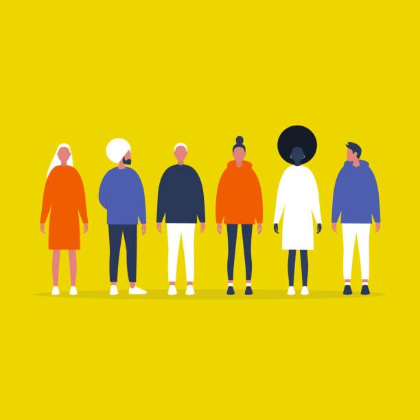illustrations, cliparts, dessins animés et icônes de un groupe de millénaires. des gens en ligne. vue avant pleine longueur. communauté. amis. équipe. collection. illustration de vecteur editable plate, clip art - vertical