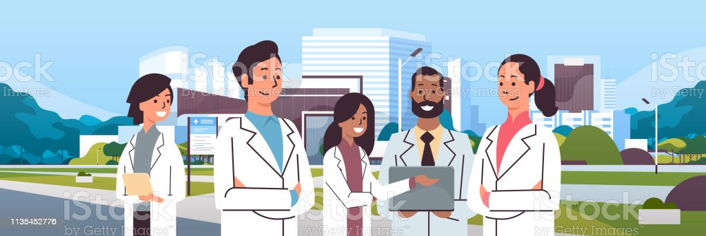 group of mix race doctors team in uniform standing together over hospital building modern medical clinic exterior cityscape background portrait flat horizontal group of mix race doctors team in uniform standing together over hospital building modern medical clinic exterior cityscape background portrait flat horizontal vector illustration Accidents and Disasters stock vector
