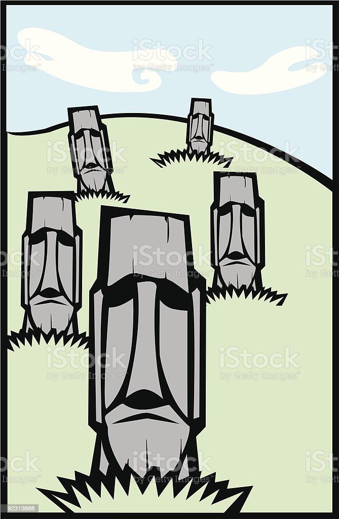 Group of Moai #2 vector art illustration