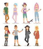 Group of modern teenagers young people lifestyle character vector illustration. Modern teenagers lifestyle and attractive group modern teenagers. Cartoon character adult casual modern teenagers.