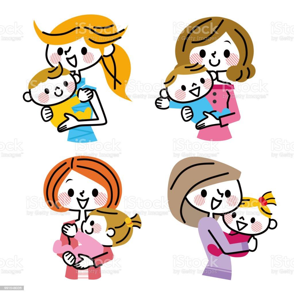 ママと赤ちゃんのグループ イラストレーションのベクターアート素材や画像を多数ご用意 Istock