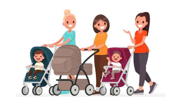 Group of moms communicate and ride toddlers in prams. Walk of young mothers with children Group of moms communicate and ride toddlers in prams. Walk of young mothers with children. Vector illustration in flat style baby carriage stock illustrations