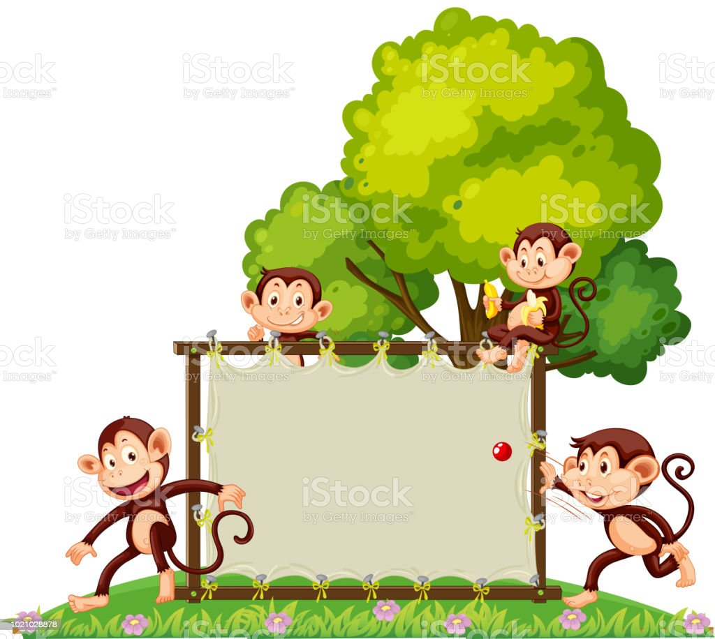 A Group Of Monkey Playing At The Banner Stock Vector Art More
