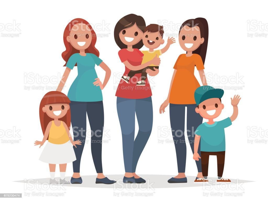 Group of mothers with their children. Mothers Day. Vector illustration vector art illustration