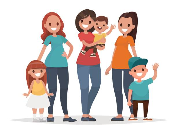 group of mothers with their children. mothers day. vector illustration - babysitter stock illustrations, clip art, cartoons, & icons