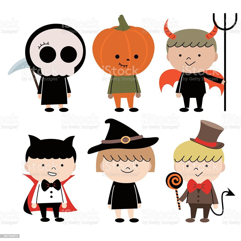 Group Of Multi Ethnic Children (6 kids) in Halloween costume vector art illustration