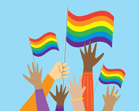 Group of multicultural Gay Pride protesters or activists hands in the air