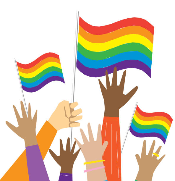 Group of multicultural Gay Pride protesters or activists hands in the air vector art illustration