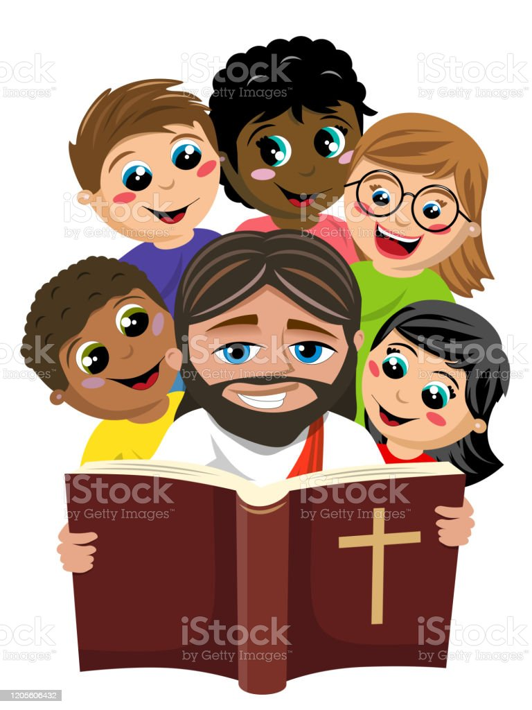 Group Of Multicultural Happy Kids Surrounding Jesus Christ Reading Holy Bible Book Isolated On White Stock Illustration Download Image Now Istock