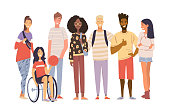 Group of multicultural students flat vector illustration. Laughing young girls and boys isolated characters on white background. Disabled girl sitting in a wheelchair. Happy teenager in casual clothes. Inclusiveness concept