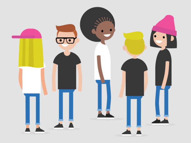ilustrações de stock, clip art, desenhos animados e ícones de group of multicultural young people: front, side and back view. millennials. lifestyle. flat editable vector illustration, clip art - homem casual standing sorrir