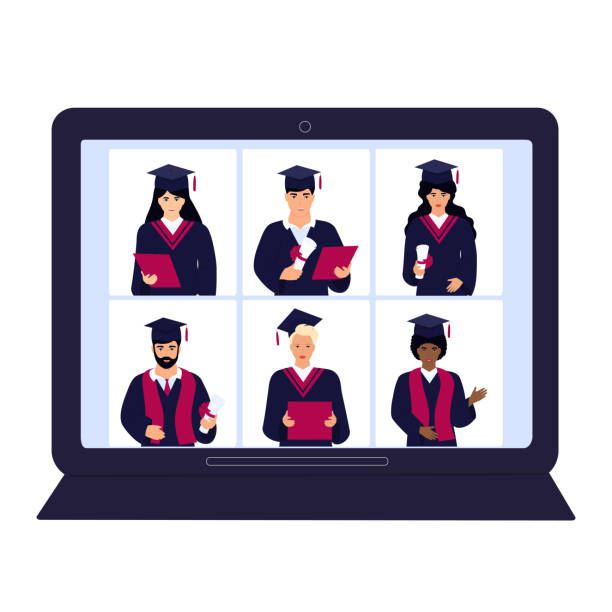 A group of multiethnic graduates in gowns and mortarboards celebrate graduation during coronavirus quarantine. Virtual online ceremony on a laptop monitor. A group of multiethnic graduates in gowns and mortarboards celebrate graduation during coronavirus quarantine. Virtual online ceremony on a laptop monitor party conference stock illustrations