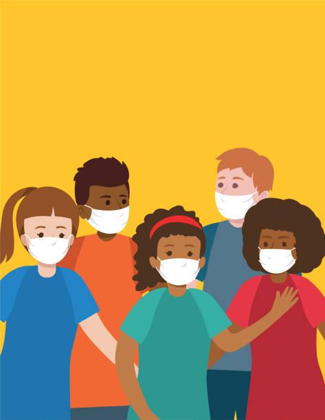 Group of Multi-Ethnic Teens Wearing Face Masks vector art illustration