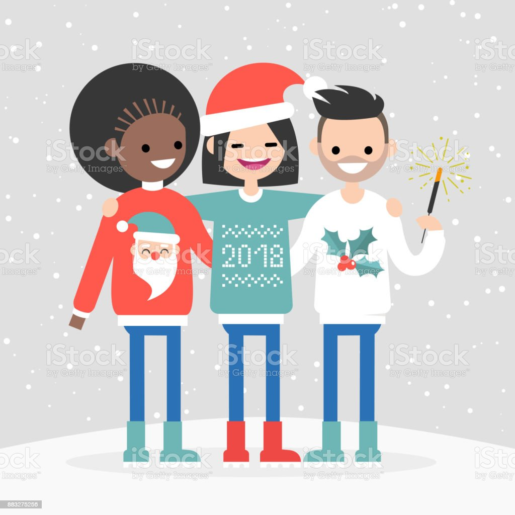 a group of multiracial friends celebrating the winter holidays new year and christmas seasonal