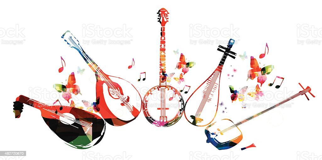 Group of music instruments with butterflies vector art illustration