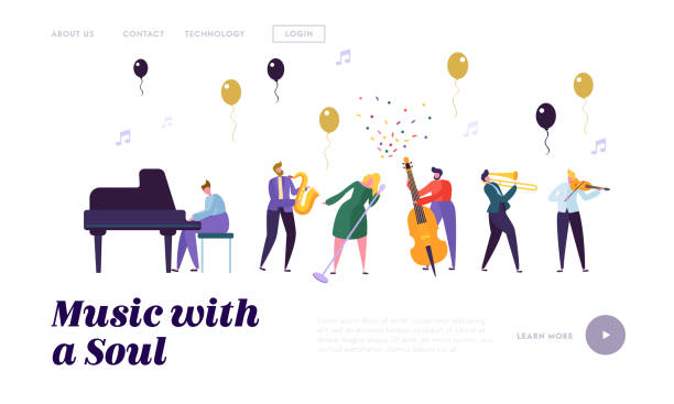group of musician artists, popular jazz band performing on stage with various musical instruments on music hall stage. entertainment landing page template for website. cartoon flat vector illustration - waltornista stock illustrations