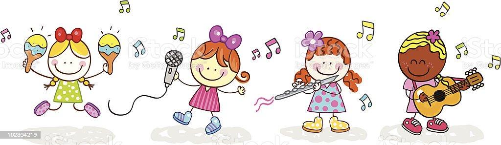 group of musician girls band vector illustration vector art illustration