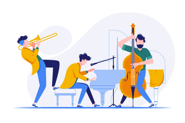 group of musicians playing classical instruments. - instrument strunowy stock illustrations
