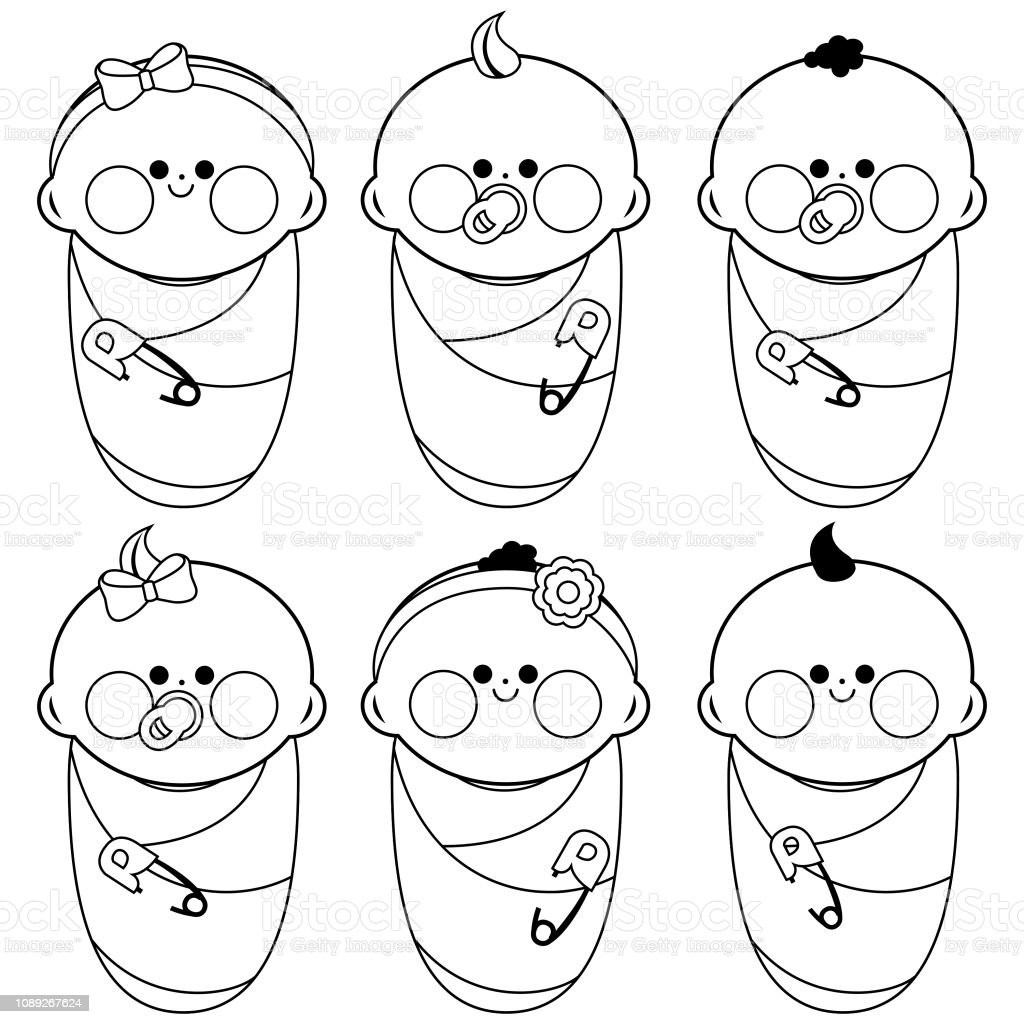 Royalty Free Baby Wrapped In Blanket Clip Art Vector Images