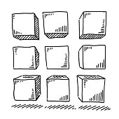 Group Of Nine Cubes Drawing