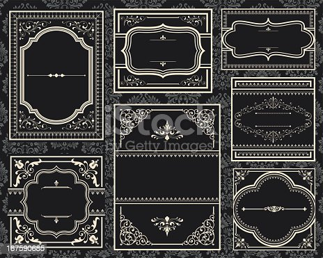 Set of ornate vector frames.  Each frame is grouped individually for easy editing.  Colors are global.  Seamless pattern is included in swatches window.