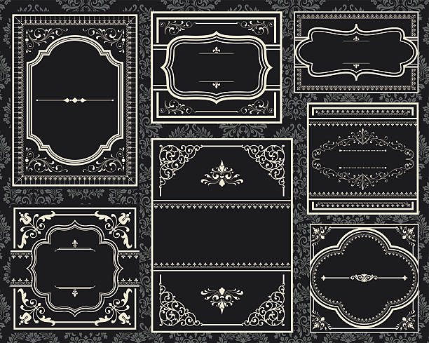 a group of old black ornate vintage frames - art nouveau stock illustrations, clip art, cartoons, & icons