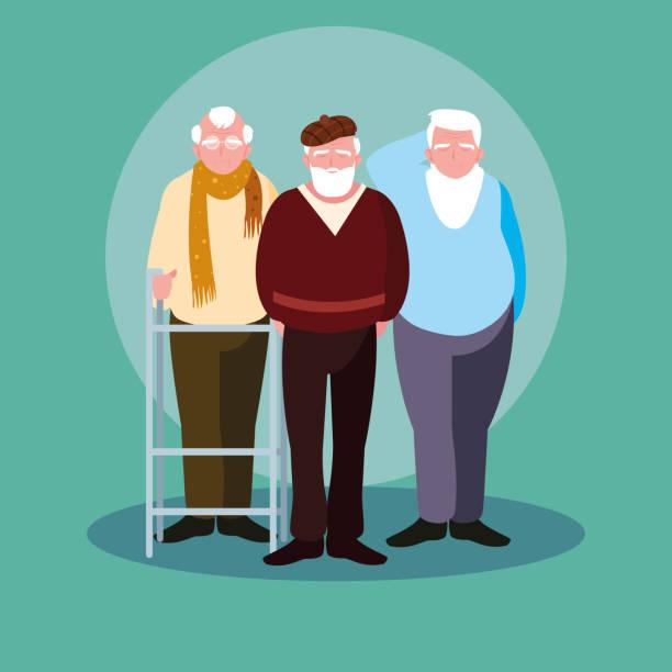 bildbanksillustrationer, clip art samt tecknat material och ikoner med grupp av gamla män avatar karaktär - medelålders