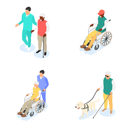 Group of old men with walking stick, guide dog and wheelchair isolated on white background. Retirement, caring for the elderly.