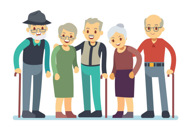 Group of old people cartoon characters. Happy elderly friends vector illustration vector art illustration