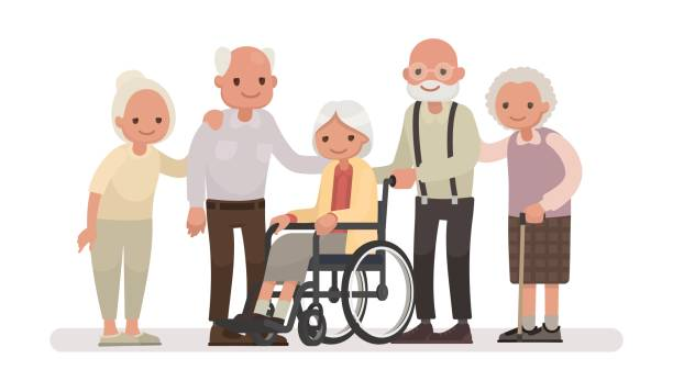 group of old people on a white background. an elderly woman is sitting in a wheelchair - old man smile cartoon stock illustrations, clip art, cartoons, & icons