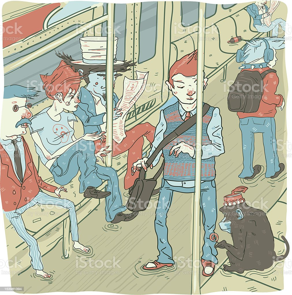Group of Passengers Riding Train vector art illustration