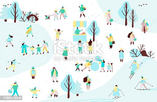 Group of people and family in outerwear spending time in winter park skating, skiing, making snowman, walking with dog. Winter holidays outdoor activities. Vector illustration in flat cartoon style