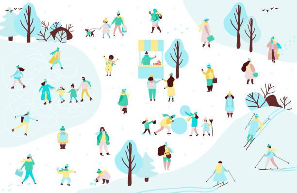 stockillustraties, clipart, cartoons en iconen met groep van mensen en familie in bovenkleding tijd doorbrengen in winter park - family winter holiday