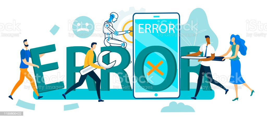 Group of People and Robot Trying to Repair Error Smartphone, Human...