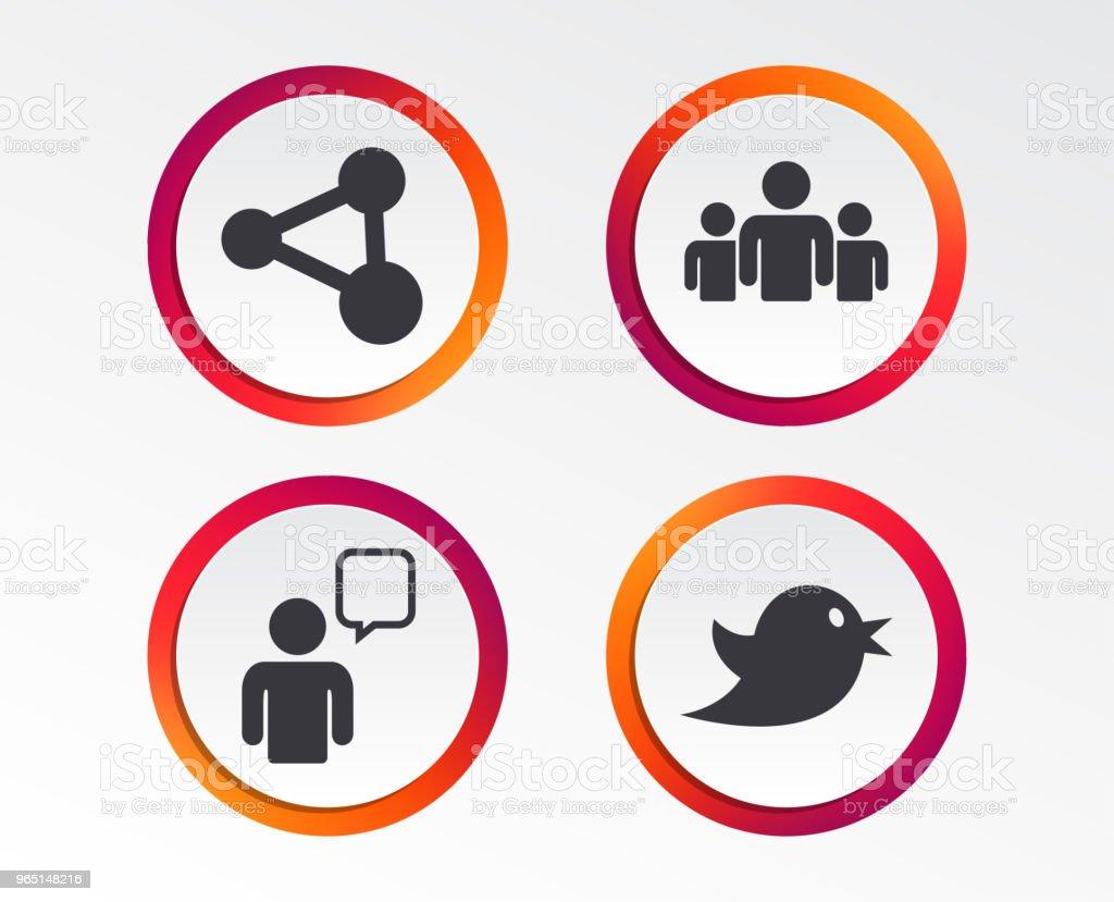 Group of people and share icons. Speech bubble. group of people and share icons speech bubble - stockowe grafiki wektorowe i więcej obrazów aplikacja mobilna royalty-free