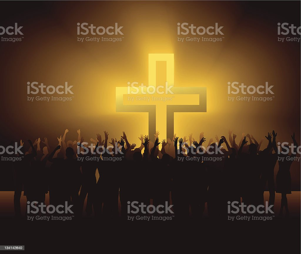 group of people around glowing Cross vector art illustration