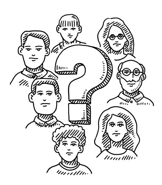 Group Of People Around Question Mark Drawing Hand-drawn vector drawing of a Group Of People Around a Question Mark. Black-and-White sketch on a transparent background (.eps-file). Included files are EPS (v10) and Hi-Res JPG. women stock illustrations