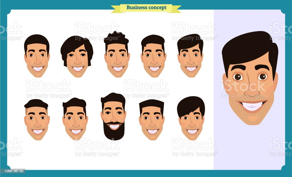 81af643f5 Grupo de pessoas, negócios ícones de avatar de homens com barba.  Personagens de pessoas