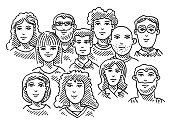 Hand-drawn vector drawing of a Group Of People, Business Team. Black-and-White sketch on a transparent background (.eps-file). Included files are EPS (v10) and Hi-Res JPG.