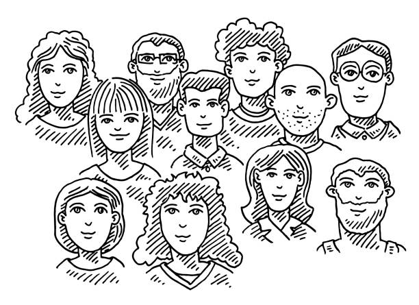 Group Of People Business Team Drawing Hand-drawn vector drawing of a Group Of People, Business Team. Black-and-White sketch on a transparent background (.eps-file). Included files are EPS (v10) and Hi-Res JPG. community drawings stock illustrations