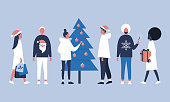 A group of people celebrating Christmas. Young adults wearing santa hats, holding presents and decorating a christmas tree. Flat editable vector illustration, clip art