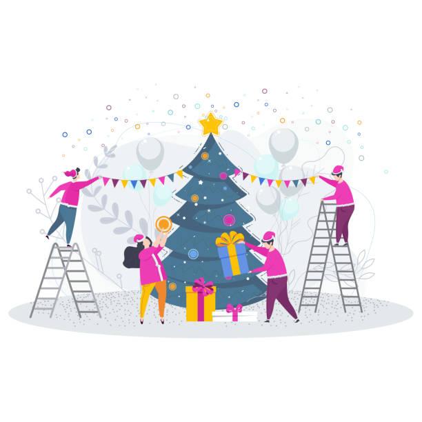 bildbanksillustrationer, clip art samt tecknat material och ikoner med grupp av människor julgran. gratulationskort - christmas gift family