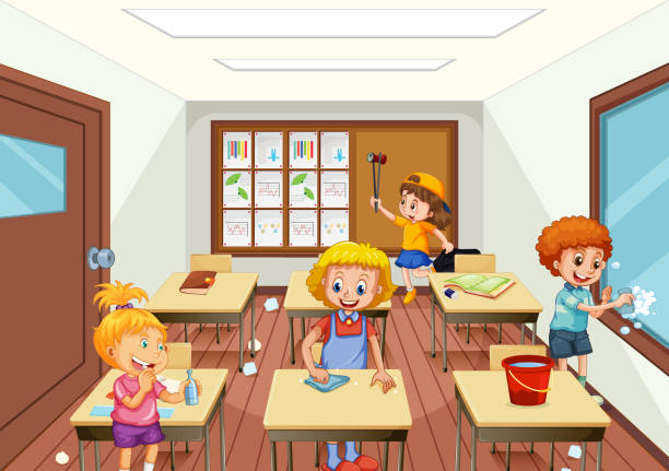 Best Cleaning Classroom Illustrations, Royalty-Free Vector ...