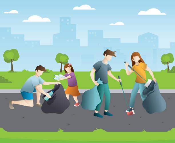 illustrazioni stock, clip art, cartoni animati e icone di tendenza di group of people cleaning up city park - raccogliere frutta