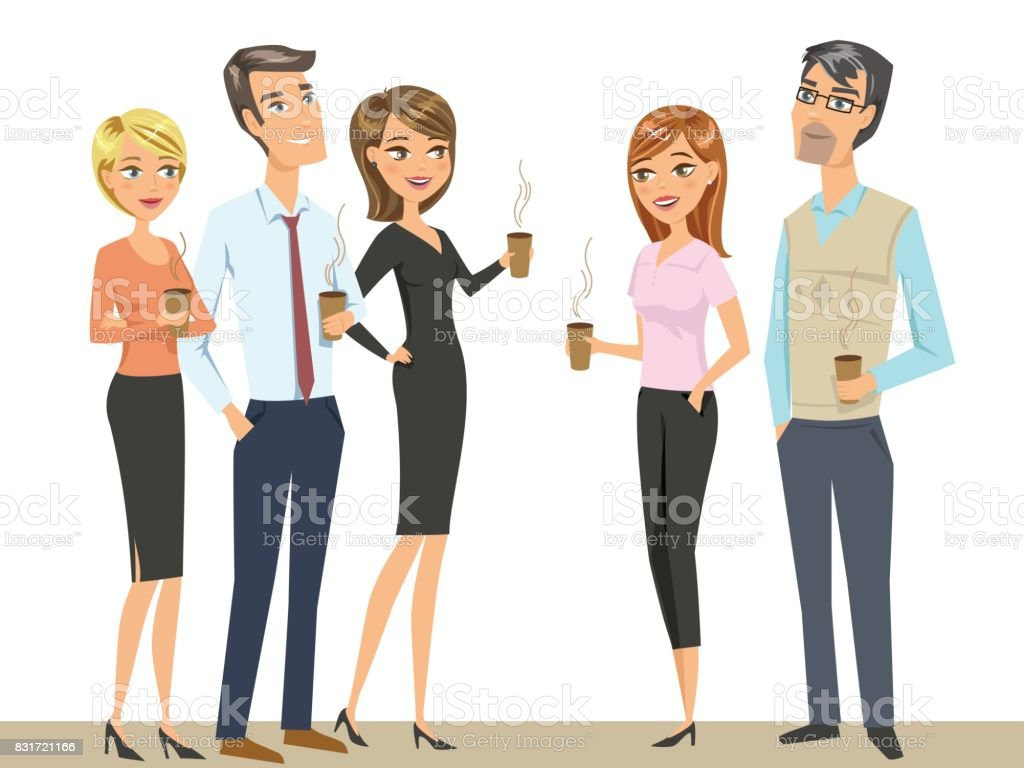 Group of people, colleagues, office workers, friends, drinking coffee . Teamwork concept. vector art illustration